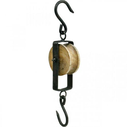 Flaschenzug Deko Metall, Holz Aufhängung Blumenampel 29cm