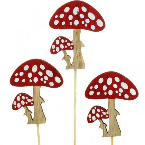 Fliegenpilze aus Holz, Pilzdeko, Herbst, Blumenstecker H7cm L34cm 18St