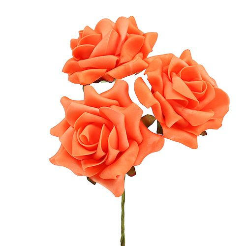 Foam Rose Ø 10cm Orange 8St