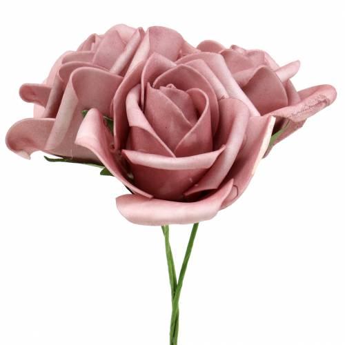 Foam-Rose Ø7,5cm Altrosa 18St