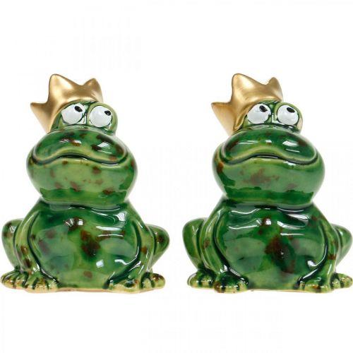 Dekofrosch, Froschkönig, Frühlingsdeko, Frosch mit Goldkrone 2St