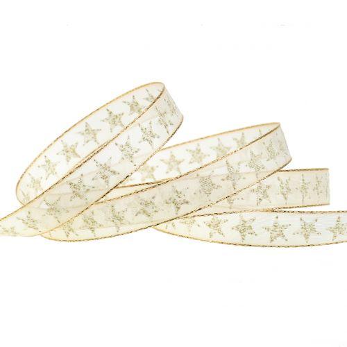 Geschenkband mit Sternen Creme, Gold 15mm 20m
