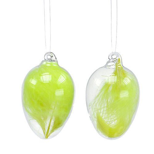 Glasei mit Federn zum Hängen 6,5cm Hellgrün 6St