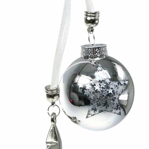 Christbaumschmuck Glaskugel mit Stern Silber 5cm