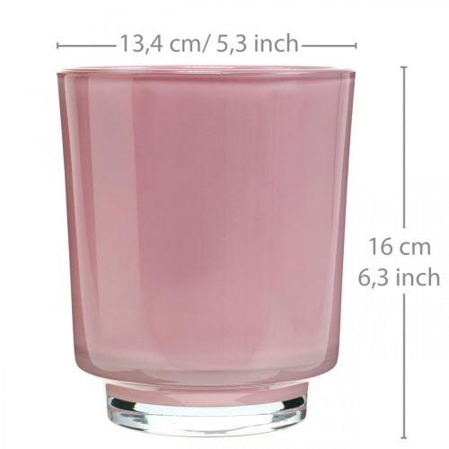 Glas-Übertopf, Orchideentopf, Deko-Vase Rosa H16cm Ø13,4cm