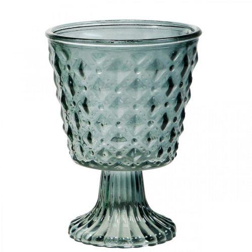 Pokal-Glas mit Fuß, Glas-Windlicht Ø11cm H15,5cm