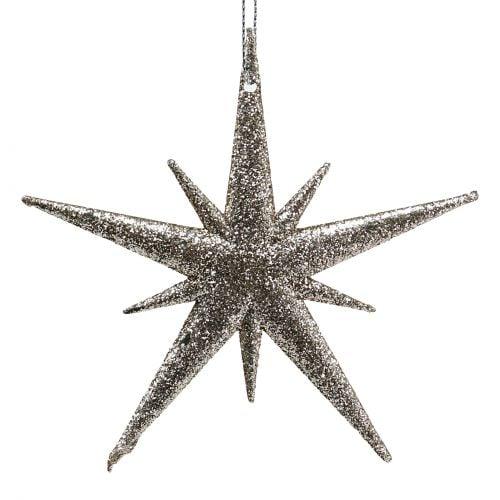 Glitterstern Hellgold 13cm 12St