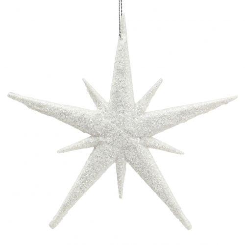Glitterstern zum Hängen Weiß 13cm 12St