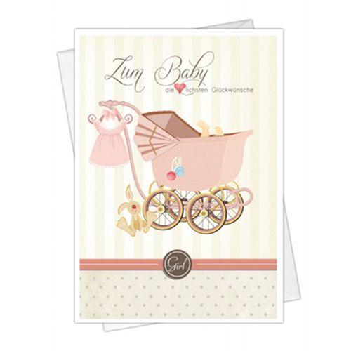 Glückwunschkarte zur Geburt für Mädchen 5St