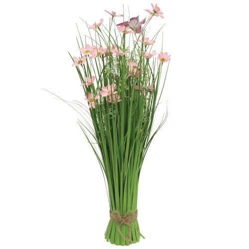 Grasbund mit Blüten und Schmetterlingen Rosa 70cm