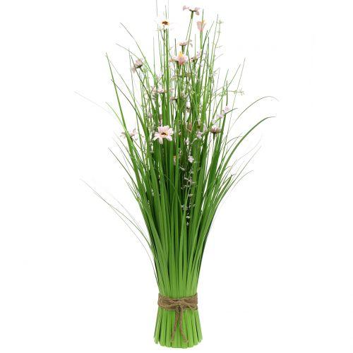Grasbund mit Blüten Rosa 70cm