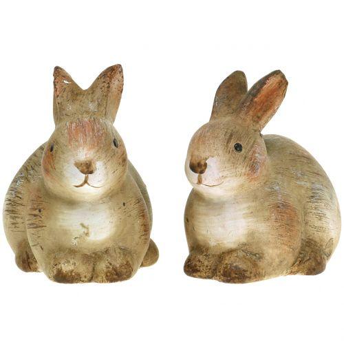 Hase aus Keramik Natur 7cm x 8cm 6St