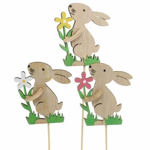 Blumenstecker Hase aus Holz 9cm 12St