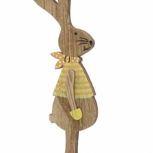 Osterdeko Hase mit Stab Holz Sortiert Natur 11cm 16St