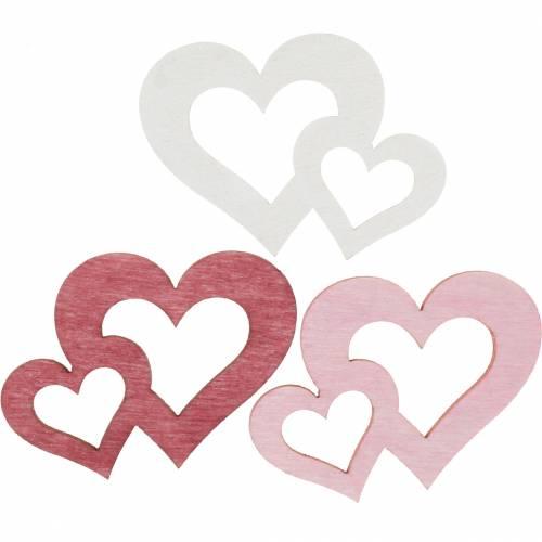 Holzherzen, Streuartikel für Tischdeko, Valentinstag, Hochzeitsdeko, Doppelherz 72St