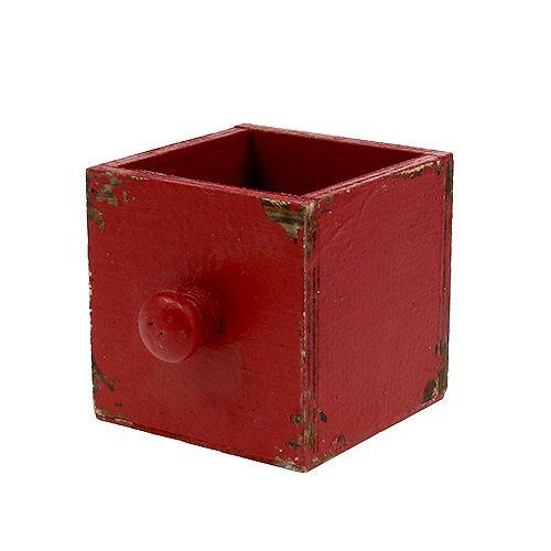 Holz Kasten, Schublade Rot 9x9x9cm 1St