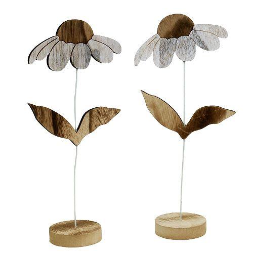Holzblume Natur 27cm x 12cm 2St