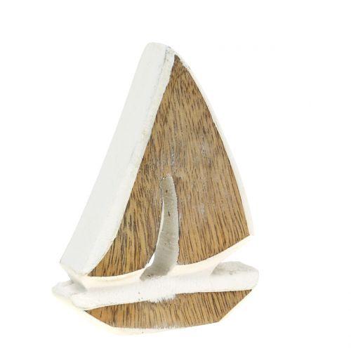 Deko Boot aus Mangoholz Natur, Weiß 10,5cm x 8,5cm