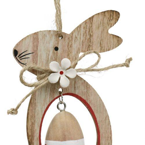 Osterhasen aus Holz zum Hängen mit Ostereiern 12cm – 14,5cm 4St