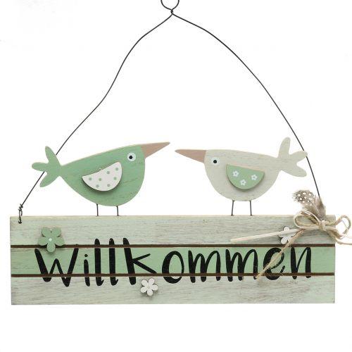 """Holzschild """"Willkommen"""" Grün 29,5cm x 28cm 2St"""