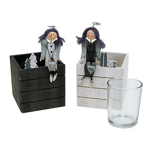 Holzkasten mit Engel 8cm x 8cm Grau, Weiß 2St