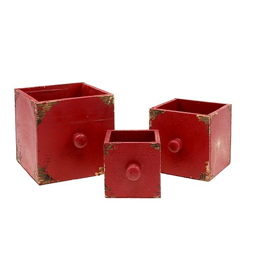 Holzkasten Schublade 3er-Set Rot 9/12/15cm