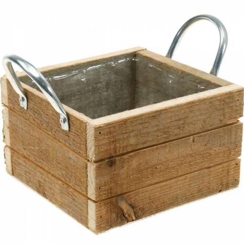 Pflanzkasten Holz Kiste mit Griffen Natur 16,5×16,5cm