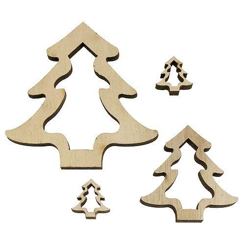 Holzdeko Tannenbaum Natur 2cm - 8cm 32St