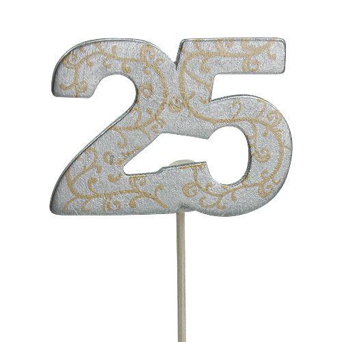 """Jubiläumszahl """"25"""" aus Holz Silber 36St"""