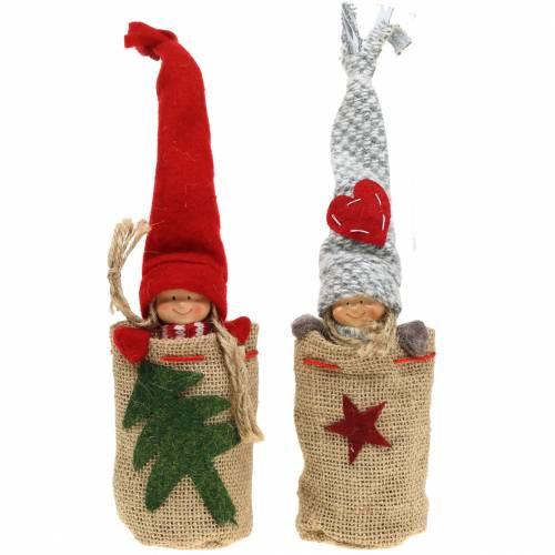 Weihnachtsdeko Jutesack mit Puppe H30cm 2St