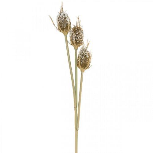 Distel-Zweig künstlich Vereist Braun Kardendistel mit 3 Köpfen 90cm