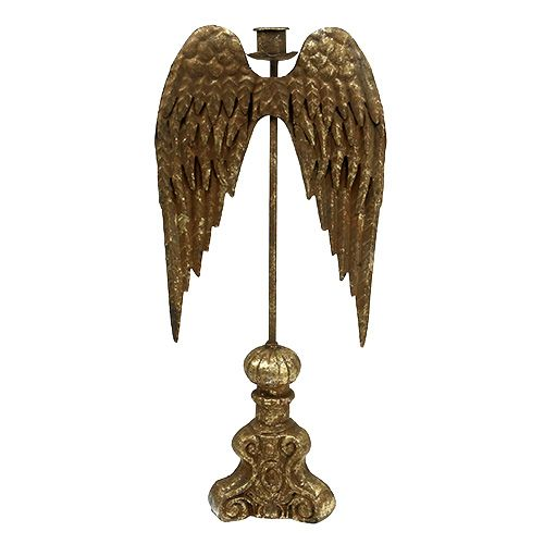 Kerzenhalter mit Engelsflügel Gold H42cm