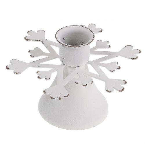 Kerzenhalter weiß gewischt Ø10,5cmH7cm 3St