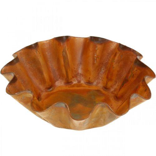 Kuchenform, Kerzenhalter, Metall-Teller, Edelrost Ø11,5cm H4cm 4St