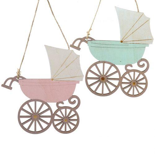 Dekohänger Kinderwagen Rosa/Blau 16,5cm x 15cm 6St