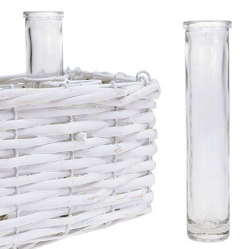Korb eckig Weiß mit 6 Reagenzgläsern 16cm x 17,5cm