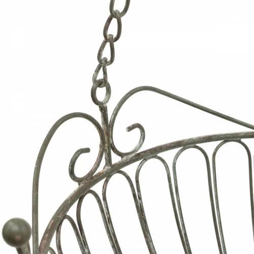 Blumenampel Deko-Pflanzkorb Rost Weiß gewaschen Metall Ø28/22cm 2er-Set