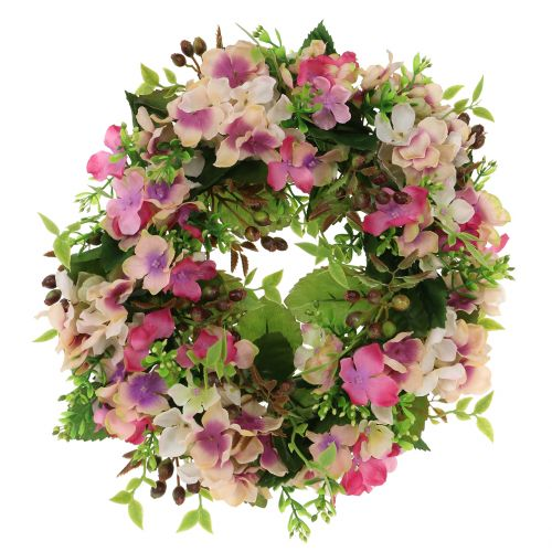 Blumenkranz mit Hortensien und Beeren Rosa Ø30cm