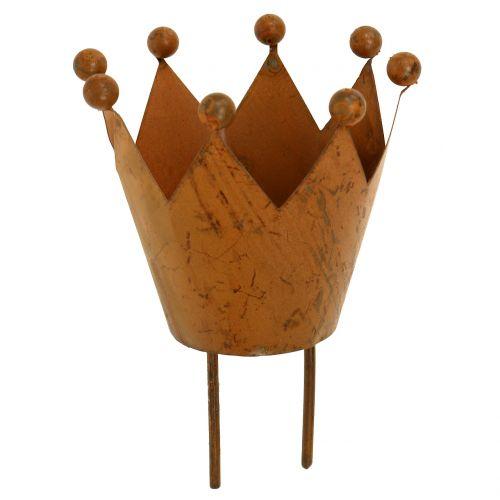 Windlicht Krone zum Stecken Rost Ø4cm H7cm