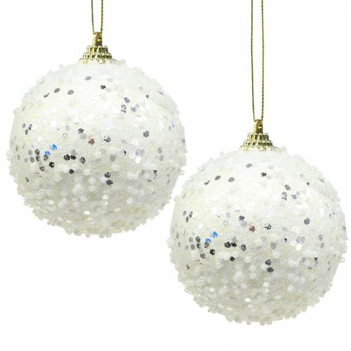 Christbaumschmuck Weihnachtskugel Foam Weiß Glitter Ø8cm 2St