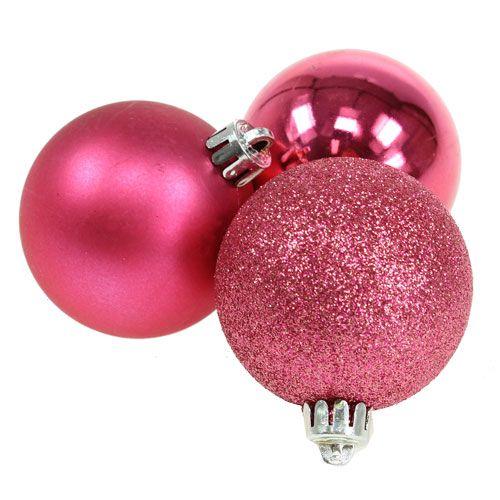 weihnachtskugel plastik pink 5cm 9st kaufen in schweiz. Black Bedroom Furniture Sets. Home Design Ideas