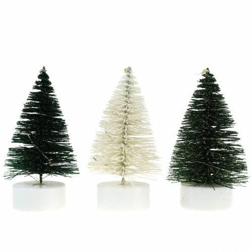 LED Weihnachtsbaum Grün / Weiß 10cm 3St