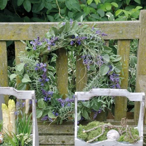 Mediterraner Lavendelkranz Ø50cm, Künstlicher Blumenkranz mit Lavendel und Rosmarin