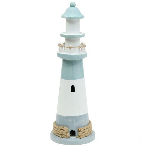 Leuchtturm Holz Blau-Weiß 36cm