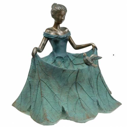Vogeltränke Gartenfigur Mädchen im Blütenkleid H33,5cm