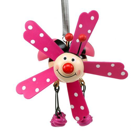 Windspiel Marienkäfer Holz Pink 12cm