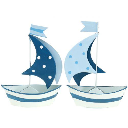 Deko Segelboot aus Metall Blau, Weiß 9,5cm x 13cm 2St