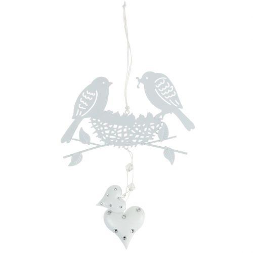 Metallhänger Vogelnest mit Herzen Weiß 18cm 3St