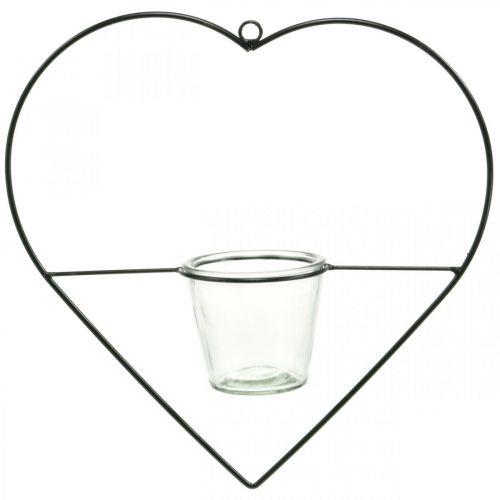 Windlicht Herz Metall 38cm Teelichthalter zum Hängen mit Glas
