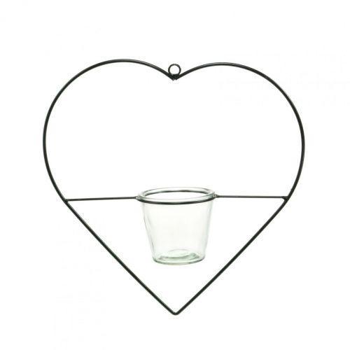 Windlicht Herz Metall 28cm Teelichthalter zum Hängen Glas 9cm
